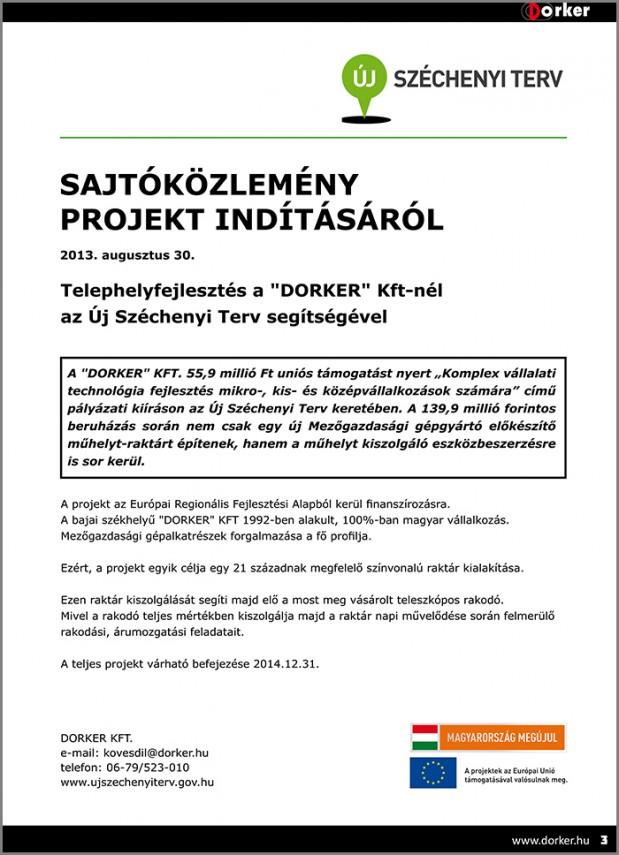 Sajtóközlemény projekt indításáról