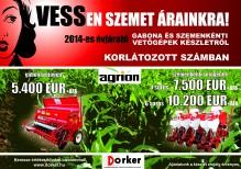 Agrion gabona és szemenkénti vetőgépek készletről