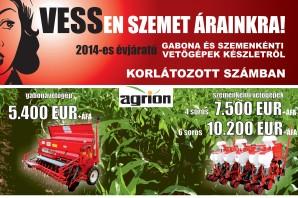 AGRION - gabona és szemenkénti vetőgépek készletről