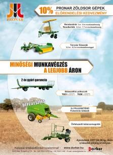 Pronar zöldsor gépek előrendelési kedvezménnyel
